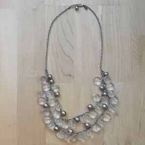 kate spade ♠️ silver & clear statement necklace